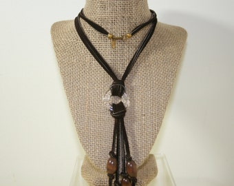 Stylish Leather Cord Wooden Hearts Necklace,Miriam Haskell Necklace