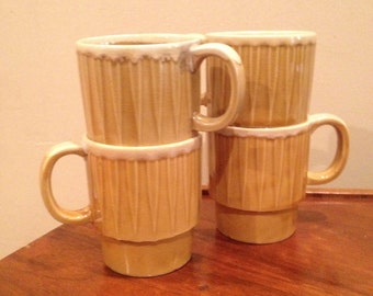 Set of four stackable mugs