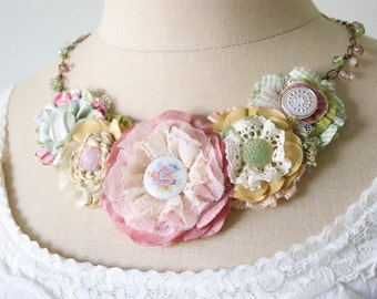 Fabric Flower Necklace, Pink Statement Necklace,  Bride Necklace, Floral Bib Necklace, Unique Textile Jewelry, Gift for Girl, Friend Gift