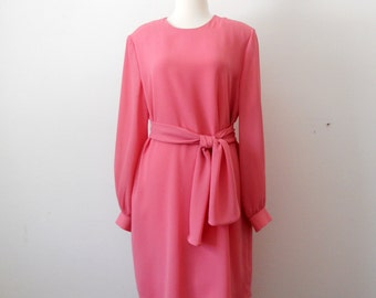 Vintage 1980's Sheer Chiffon Pink Flowy Layer Dress Size 10