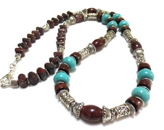 Men's Gemstone Necklace, Turquoise Magnesite, Agate Necklace, Wooden Beads, Extra Large 26 Inch, Men's Jewelry, Detailed Silver Beading
