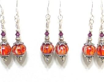 Clemson Tiger Earrings, Striped Orange, Amethyst Swarovski Crystal, Multiple Earrings, 5 Available, Orange and Purple, Sorority Gift