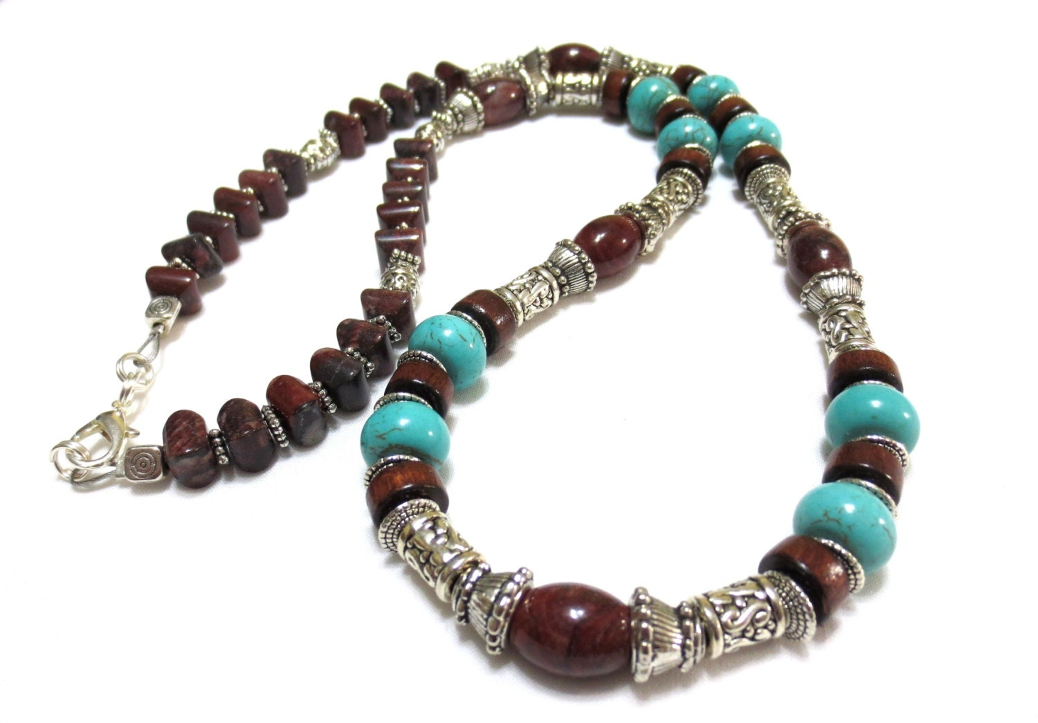 mens turquoise necklace gift for him brown wood and