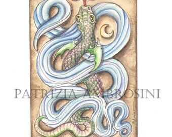 Original ACEO HANDPAINTED..Snake in the water .OOAK..Original  watercolor Card painting sea world