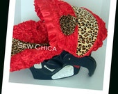 Red Satin 3D Roses/Leopard Minky Infant Baby Car Seat Cover w Bling Flower-Ready To Ship