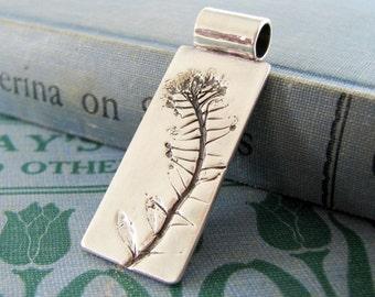 On Sale, Climb No. 1, PMC OOAK Jewelry, Fine Silver Pendant, Natural Plant Impressions, Artisan Handmade
