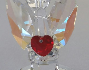 Crystal Angel Holding A Red Crystal Heart - Guardian Angel Figurine Handcrafted By Bjcrystalgifts Using Swarovski Crystal