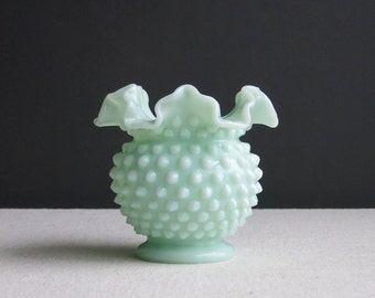 Vintage Fenton Green Pastel Hobnail Milk Glass Vase - 1950s Mint Green Round Bumpy Vase - Light Green