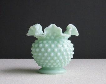 Fenton Green Pastel Hobnail Milk Glass Vase - 1950s Mint Green Vase