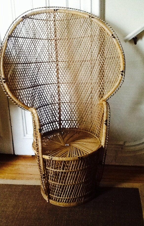 Vintage Wicker Peacock Chair Rattan High Back Fan Chair