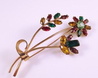 Coro Flower Pin, Vintage Jewelry, Rhinestone Brooch, Sterling Silver Flower Brooch, Rhinestone Jewelry, Coro Brooch, Coro Pin, Coro Jewelry