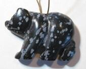 Snowflake Obsidian  Bear bead  .........   36 x 23 x 8 mm   ........           B1600