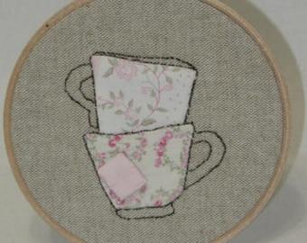 Tea Lover Tea Cups Embroidery Hoop Art Minimalist Whimsical Art