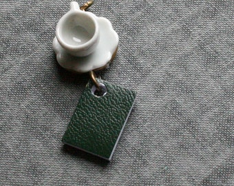 Tea and Book Necklace, Green Book Necklace, Miniature Book Necklace, Teacup Necklace, Coffee Cup Necklace Reading