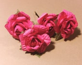Tangled Rose, Bohemian Wedding Hair Accessories, Bridal Hot Pink Hair Flower, Brass Bobby Pins, Set of 4