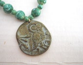 Owl & Athena Cast Bronze Pendant Necklace - 1960s Green and Gold