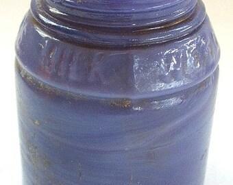 Beautiful PURPLE Milk Glass color antique Ingrams MILK WEED Cream jar all original
