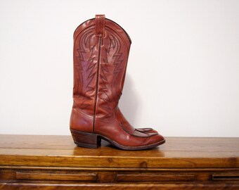 Brown Leather Cowboy Boots 8 Mens 10 Womens Western Southwestern