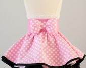 Minnie Mouse inspired Dress Up Costume Apron, Half Apron Style, Pink Polka Dot Gown....Made to Order