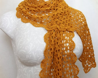 Crocheted Lace Wrap Shawl--Amber