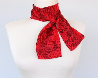 SCARLET - Red scarf headband skinny scarf vintage fabric red head scarf pixel print scarf red bandana summer scarves hair accessories women