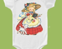 Mary had a Little Lamb, Nursery Rhyme, Mother Goose, Baby shower, baby girls clothes, one piece, back to School Girls T-Shirt