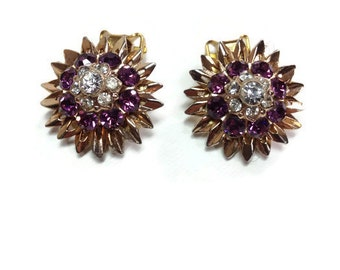 Purple and Clear Rhinestone Earrings