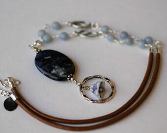 Denim and Baby Blue Leather Corded Gemstone Eyeglass/Badge Lanyard