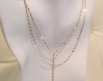 SOLID 14k Gold Lariat Necklace, delicate gold Y necklace, double chain, double strand with tassel