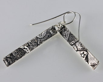 Sterling Silver Dangle Drop Earrings Fused Sterling Organic Collage Design Long Rectangle Contemporary Artisan Jewelry Design 6351475032715