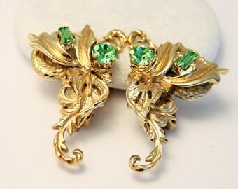 Vintage earrings. Green crystal earrings. Clip on earrings. Large earrings
