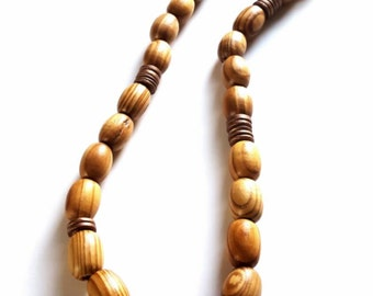 Men's large wood bead necklace- mens dark brown necklace-The Waseyu no 14