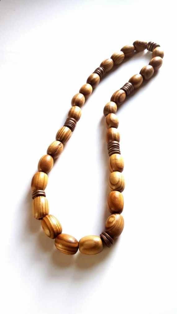 s large wood bead necklace mens brown