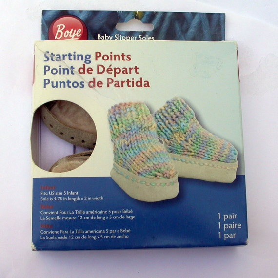 DIY Baby Booties Soles, Faux Shearling and Suede, Boye Starting Points, Knit or Crochet the Tops, Great Photo Prop or Baby Gift