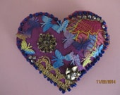 Decorated felted Heart