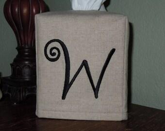 """Monogrammed Linen Tissue Box Cover -  Frivolous """"W"""" Monogram   Made To Order"""