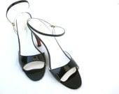 Vintage Leather Heels Patent Leather Saks Fifth Avenue Designer Pumps Madmen Style Chic Fashion Elegant Straps 1960 60s