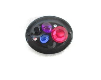 Vintage Brooch Rhinestones Black Plastic 1980 80s Colorful Jewels Pink Blue Black Purple Pin