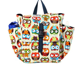 Custom listing for Claire     Toddler bag Cotton Children bag Kids day bag, diaper bag - Owl print