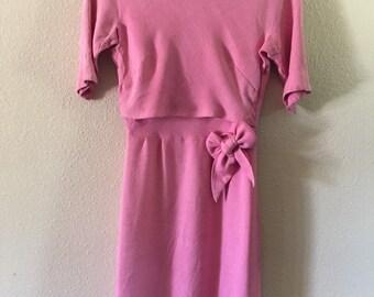 SALE!!! Vintage Pink Pastel Mod Formal Dress with Bow