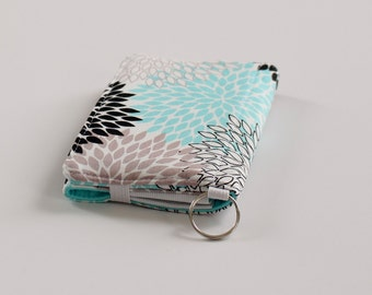 iPhone 6 Wallet, Floral Fabric Wallet for iPhone, Smartphone Wallet in Black, White, and Aqua Floral - PREORDER