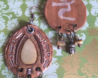 Chakra EARRINGS,beaded dangle earrings, boho earrings,yoga earrings,polymer clay earrings yellow earrings,solar plexus chakra  buddha ZASRA