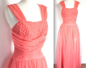 Vintage 1950's Dress // 50's Dreamy Coral Pink Chiffon Party Prom Dress with Pearls // Love Me Tender // DIVINE