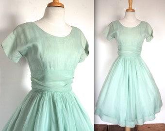 Vintage 1950's Dress // 50s 60s Sage Green Chiffon Party Prom Dress // Roman Holiday // DIVINE
