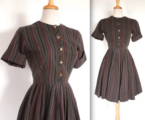 Vintage Wedding Dresses 50s 60s: Vintage 1950's Dress // 50s 60s Dark Multi Colour Striped