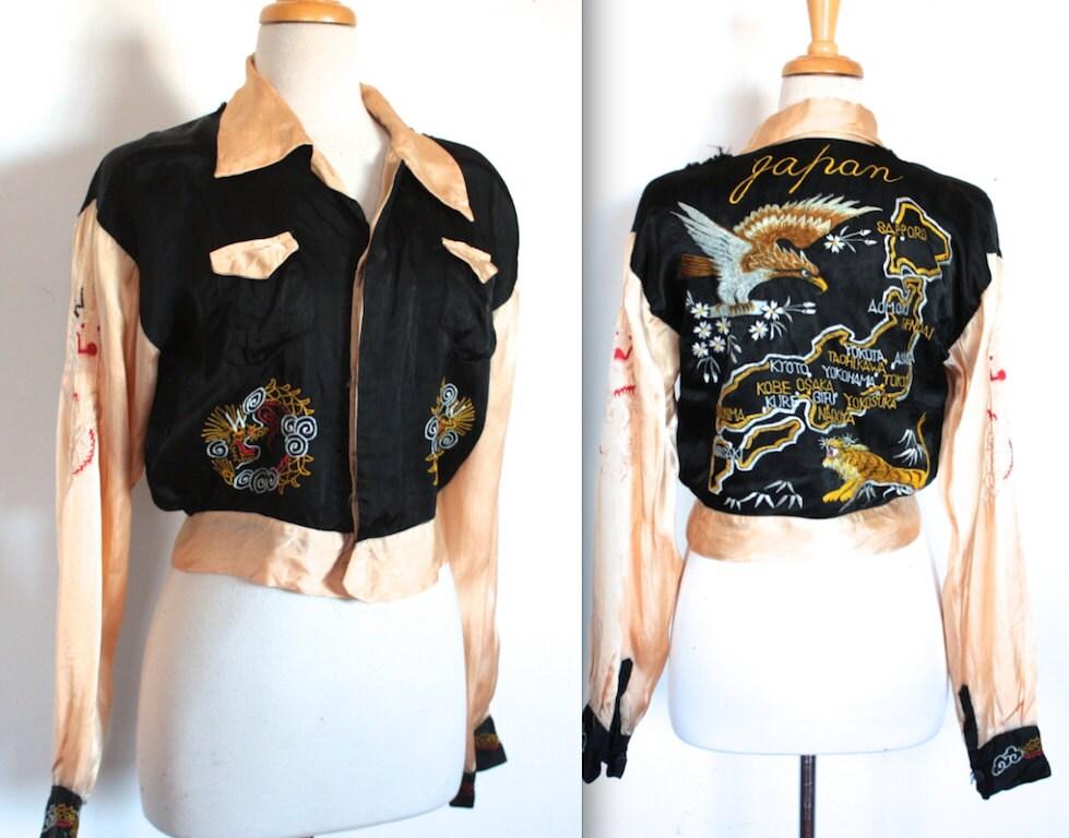 Rare vintage s jacket satin japan embroidered