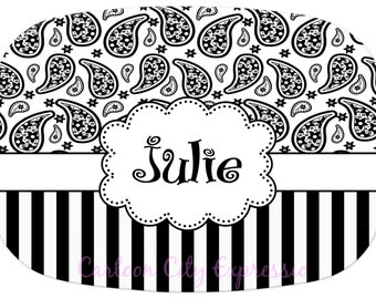 Personalized Monogram Melamine Platter 13 x 9 Black and White Stripe Paisley