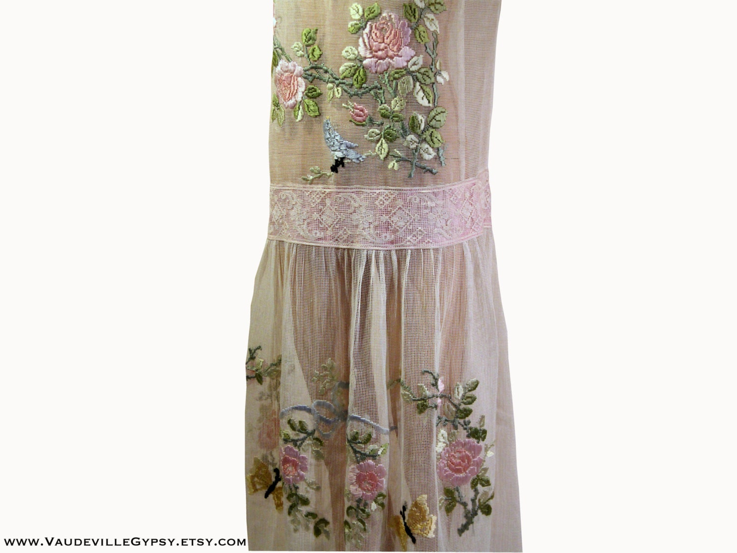 S tea dress with ribbon embroidery butterflies birds