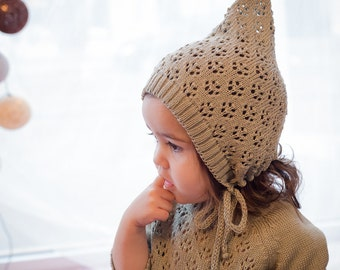 Knit Baby Hat Christening Baptism accessorie Newborn Knitted Infant Photo Prop All Sizes Pixie Beanie Baby lace hat