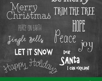 Christmas Overlays Holiday Photo Scrapbook Word Art V.4 INSTANT DOWNLOAD